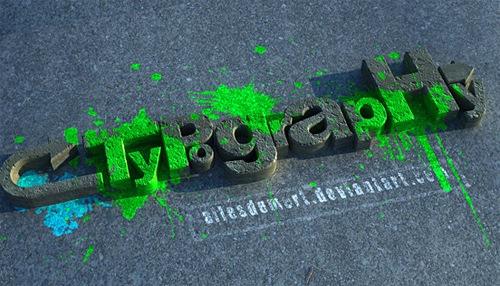 3D типографика в стиле гранж
