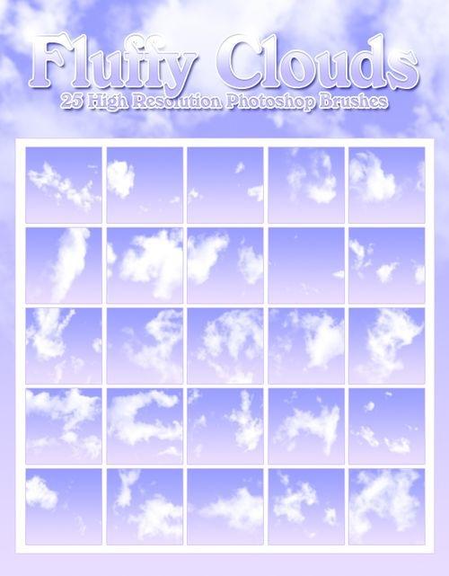 25 кистей забавных облаков