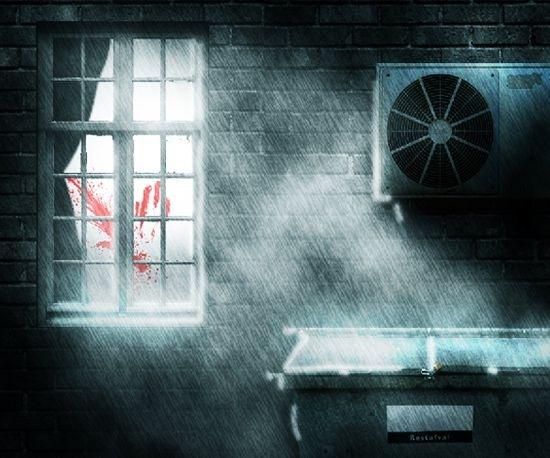 Место преступления и темная дождливая ночь