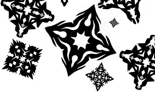 Черные и белые кисти снежинки