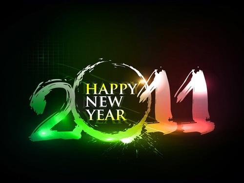 Неоновые Новогодние обои 2011