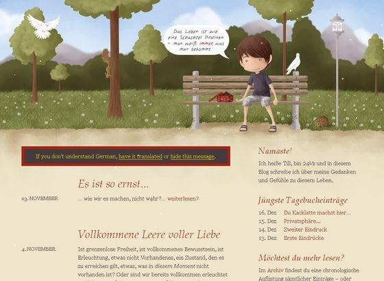 Сайт с иллюстрациями в хедере
