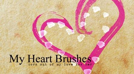 12 нежных кистей в форме сердец