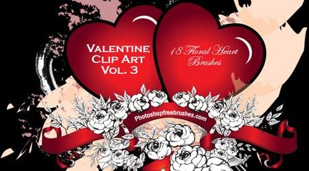 18 сердец с элементами цветов в стиле гранж