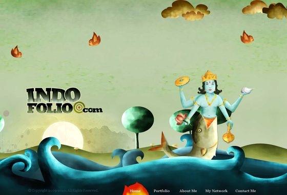 Сайт с иллюстрациями в индийском стиле