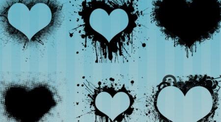 6 кистей сердец с эффектами потеков краски