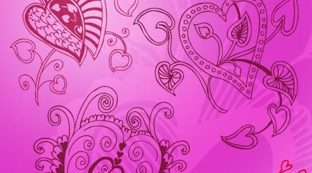 22 кисти в форме сердец с цветочными узорами