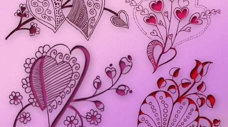 20 кистей цветочных сердец в высоком разрешении