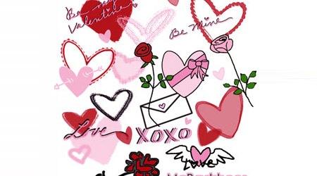 Кисти-дудлы с изображениями роз, сердец