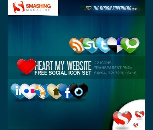 22 социальные иконки в форме сердца