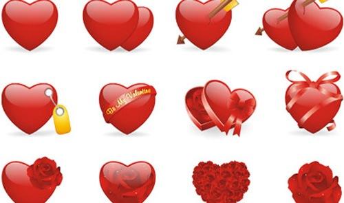 Набор иконок с яркими сердцами