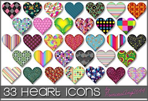 Узорные иконки в форме сердец