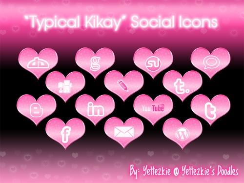 Социальные иконки в форме сердец