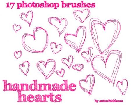 17 кистей зарисовок сердец