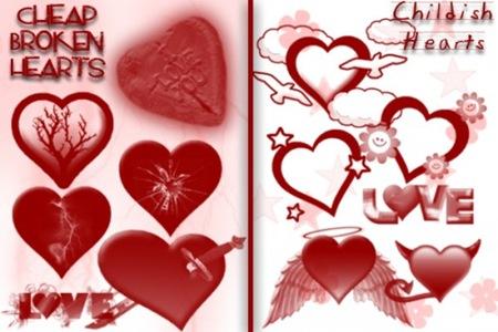 Кисти в форме разбитых сердец и детских рисунков