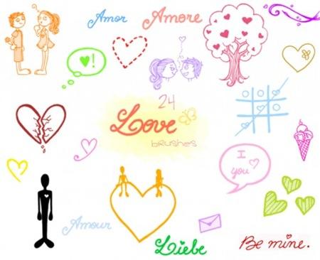 Кисти-дудлы посвященные любви