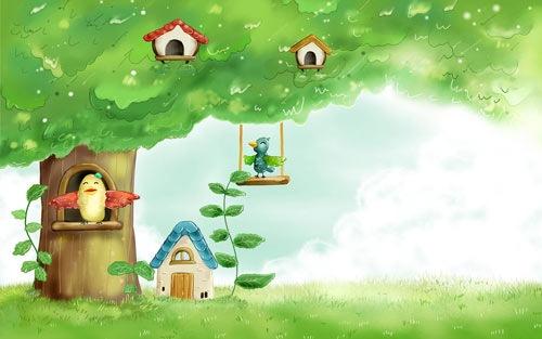 Птицы на весеннем дереве