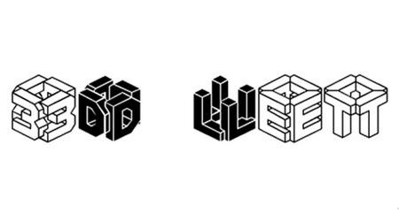 Шрифт в виде кубов