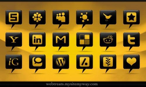 Черно-желтые иконки социальных сетей в виде облачков