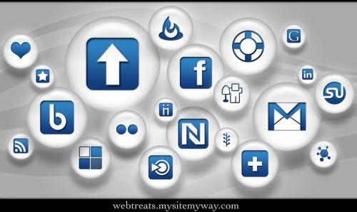 Голубо-белые социальные иконки