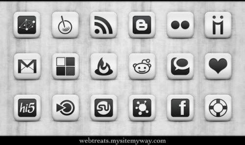 Матовые белые социальные иконки в форме квадратов