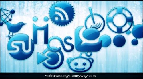 Голубые социальные иконки