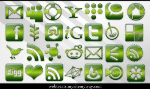 Зеленые социальные иконки