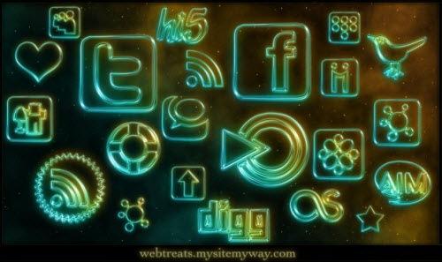 Светящиеся неоновые социальные иконки
