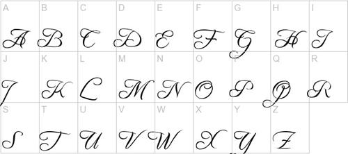 Шрифт прописью с завитками