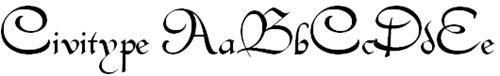 Округлый шрифт с завитками