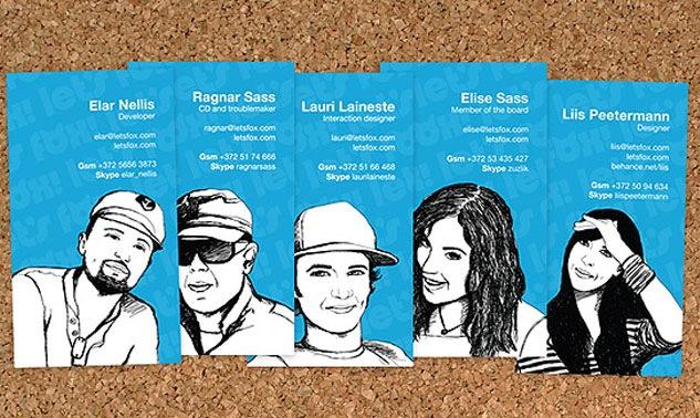визитки с портретами