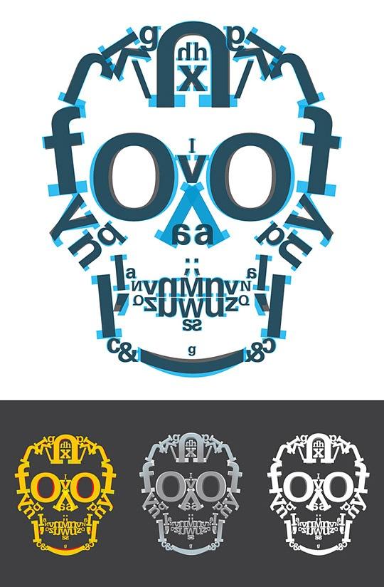 Постер с типографическим черепом