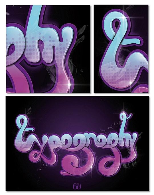 Яркая глянцевая типографика