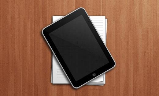 Иконки iPad и стопки бумаги