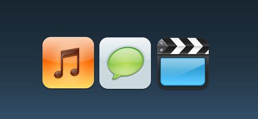 Иконки для музыки, текста и видео
