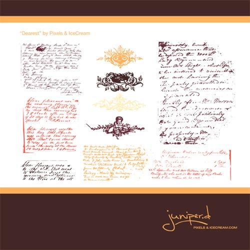Винтажные кисти орнамента и рукописи