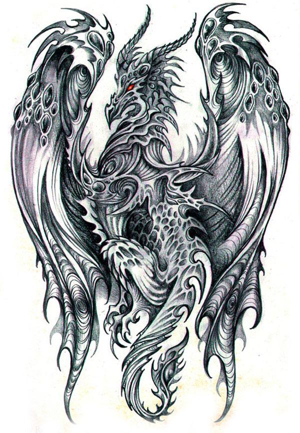 Realistic Dragon Sketches In Pencil
