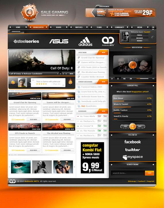 Дизайн для сайта игр