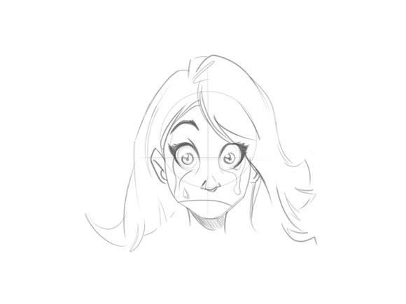 Как нарисовать девушку с длинными волосами лицо