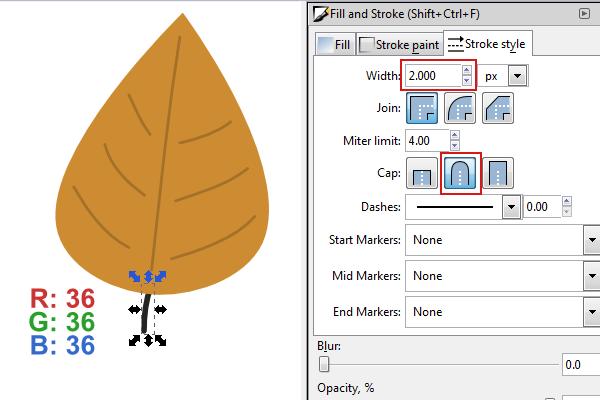 draw leaf stem