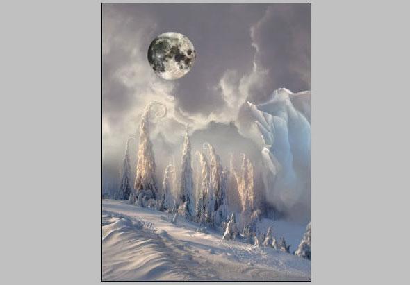 Christmas night, new year card, flying Santa Claus, fairy christmas landscape, snow scene, christmas trees, iceberg, night stars, moon light, santa's deers, christmas sleigh.