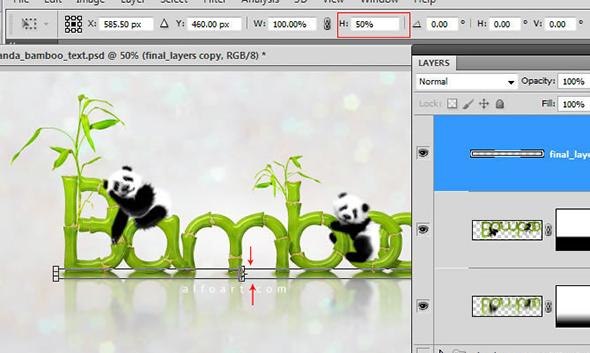 Panda & Bamboo text effect Pandas and realistic fresh and green bamboo plant illustration