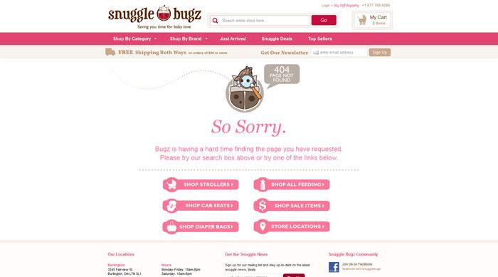 snugglebugz.ca 404 error page
