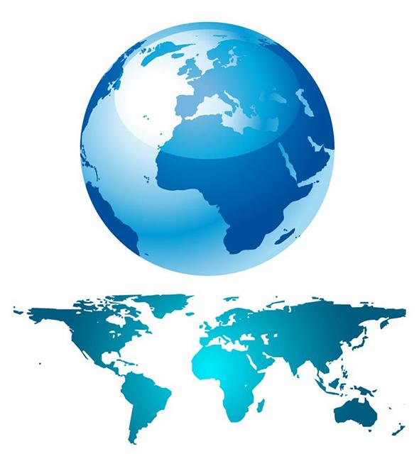 Blue Globe And World Map