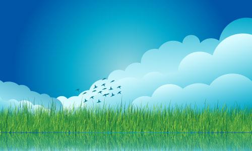 Vector Cloud Grass Background