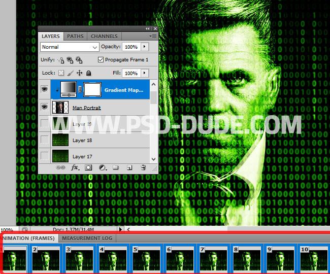 matrix portrait photo effect in Photoshop