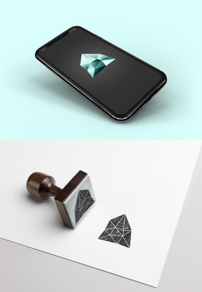 Gemstone logo mockup