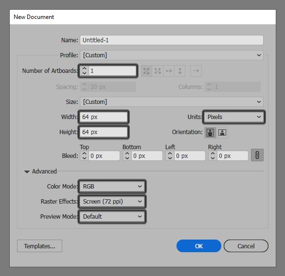 binoculars icon document setup